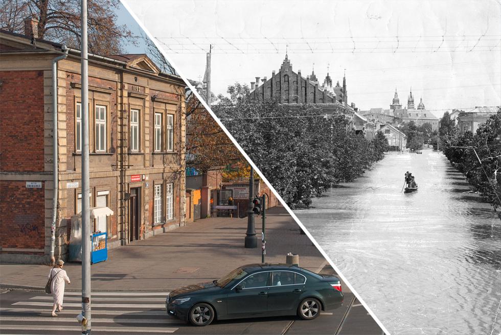 (#76) Powódź na ulicy Piłsudskiego, widoczny Sokół